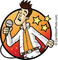 Karaoke Star - Emotional man singing karaoke in the...