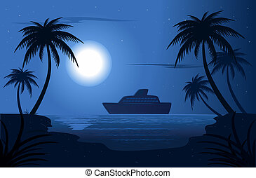 Blue Lagoon - Summer night in the blue lagoon vector...