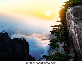 Sunset in huangshan