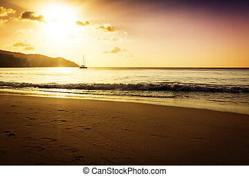 Gold sunset on the sand beach Saychelles island Mahe