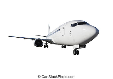 Passenger aircraft Isolated on white background There is a...