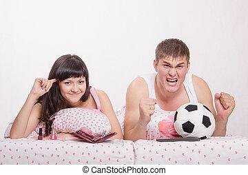 marido, conforme, seu, esposa, loucos, futebol