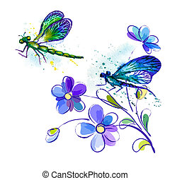 Vector watercolor background with dragonflies and flowers -...