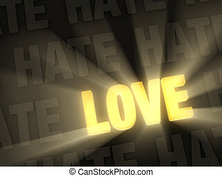 Love Shines Past Hate - Brilliant light rays shine from a...