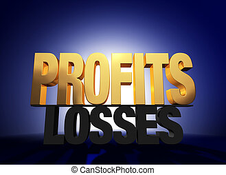 "Profits Vanquish Losses - Bright, gold ""PROFITS"" atop a dark..."