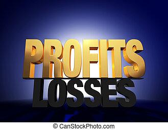 """Profits Vanquish Losses - Bright, gold """"PROFITS"""" atop a dark..."""