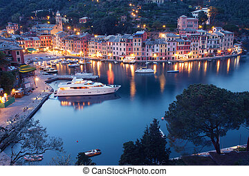 Portofino - Colorful Portofino fishing village at dusk in...