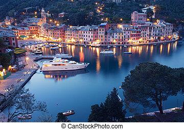 Portofino - Colorful Portofino fishing village at dusk in...