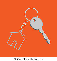 House key - Key and fob in the form of a house