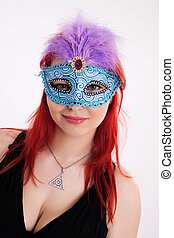 Young plump red-haired woman with mask - Portrait of young...