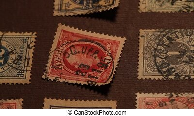 Old?Stamps - Close up of Old Postal?Stamp?Album