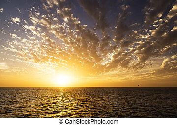 Beautiful sunrise over the sea. Calm.