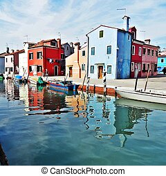 colorful houses on Burano island in Venice