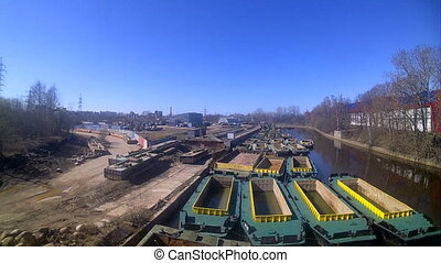 fleet of special barges for deepening of channels - ships of...