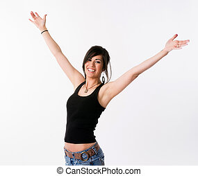 Pretty Brunette Woman Holds Arms Outstretched Jubilant...