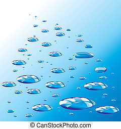 Blue Drops And Droplets, editable vector illustration