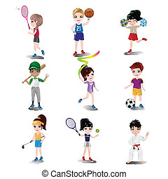 Kids exercising and playing different sports - A vector...