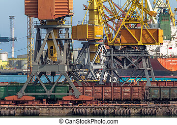 ODESSA, UKRAINE - APRIL 15: industrial large sea cargo...