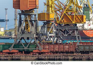 ODESSA, UKRAINE - APRIL 15: industrial large sea cargo...