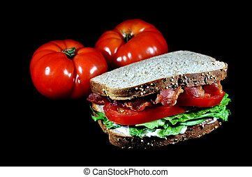 BLT Sandwich, Tomatoes, Isolated