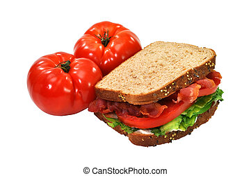 BLT Sandwich, Tomatoes, Isolated, Clipping Path