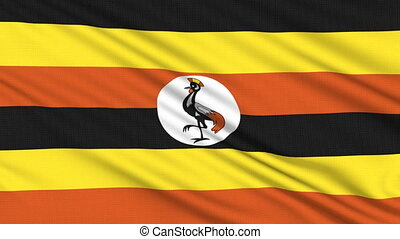 Uganda flag, with real structure of a fabric