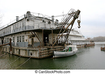 ODESSA April 15: Old river trading port Ust -Danube . Human...