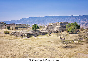 Monte Alban Ruins, Oaxaca, Mexico - Aerial view of Monte...