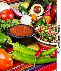 Salsas - Stock image of traditional mexican food salsas and...