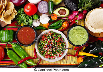 Salsas - Stock image of traditional mexican food salsas and...
