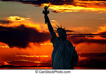 The Statue of Liberty at a beautiful sunset