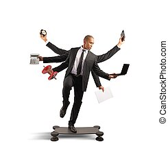 Multitasking businessman - Multitasking concept with...