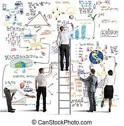 empresa / negocio, equipo, dibujo, nuevo, proyecto