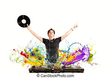 Cool DJ playing music with splash effect