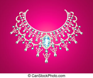pearl necklace - Illustration of pearl necklace on a pink...
