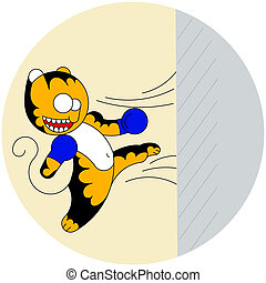 Vector cartoon cute young tiger of martial arts beats a...