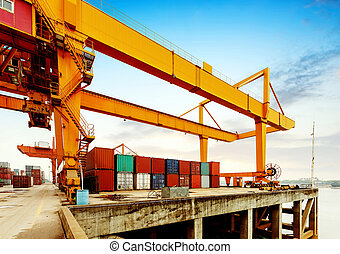 Cranes and container terminal on - Container operation in...