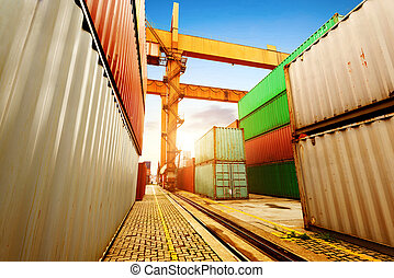 Container Terminal - Port of containers and cranes, dock...