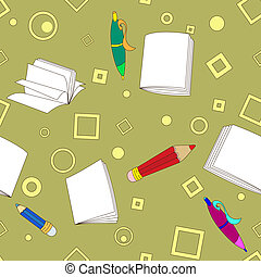 School notes seamless pattern on khaki background. Tools for...