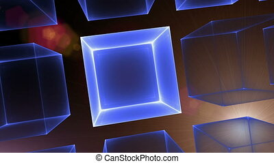 Blue Cubic Perspective With Rays Of