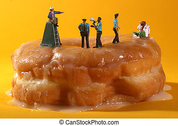 Police Officers in Conceptual Food Imagery With Donuts -...