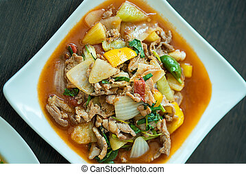 fried pork with sweet peppers, Thai food