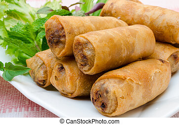 springroll - crispy spring rolls on dish with vegetable