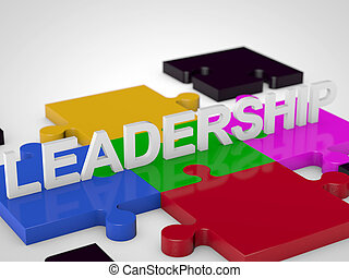 Leadership over colorful puzzle tiles