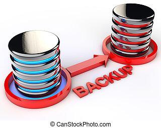 Backup Data - symbolic Data backup over white background