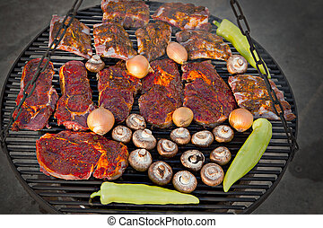 Delicious BBQ - Delicious barbeque on a grill