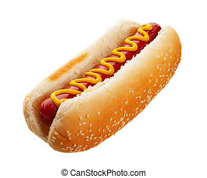 Hot Dog With Mustard - An old-fashioned hot dog with...