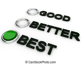 Good Better Best Selction over white background