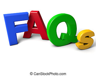 FAQs - colorful FAQs Letters over white background