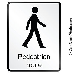 Pedestrian route Information Sign - Monochrome pedestrian...